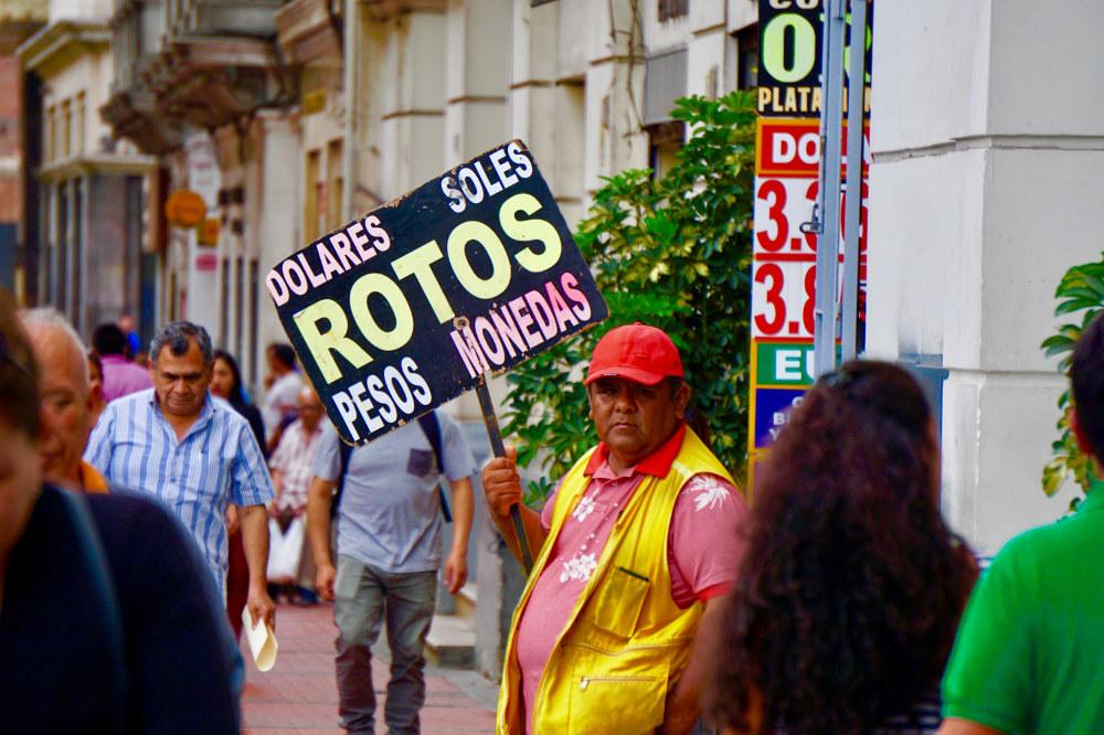 Street Scene Peru Money Changer